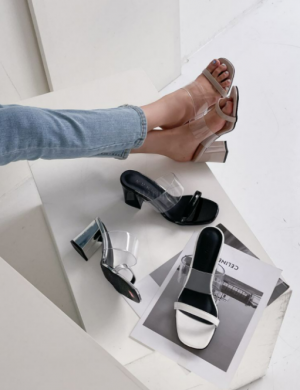 Clear strap heel slippers
