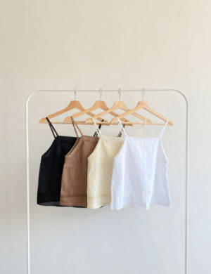 Square neck linen string top