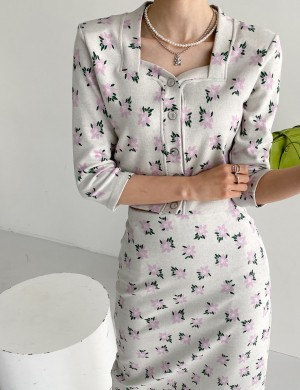 Floral Button up Top and Midi Skirt Set