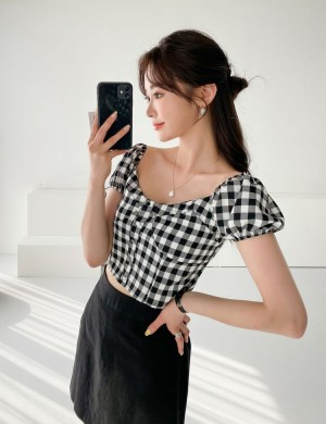 Jessica Gingham Bustier Blouse