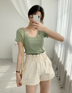 High Waisted Baggy Shorts With Belt