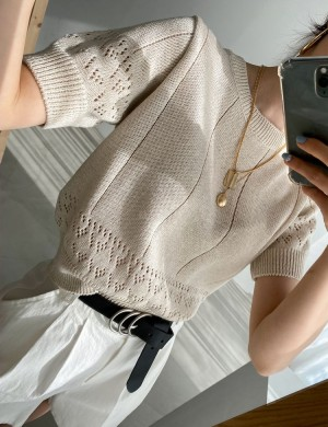 Casual Trendy Short Sleeve Knit