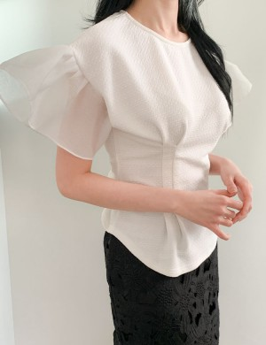 Peplum Blouse with Butterfly Sleeves