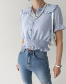 Lovely Ruched Ruffle Blouse