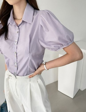 Fitted Puff Sleeve Button Down Blouse