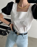 Square Neck Blouse With Contrast Puff Sleeves