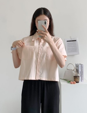 Cropped Button Down Short Sleeve Shirt