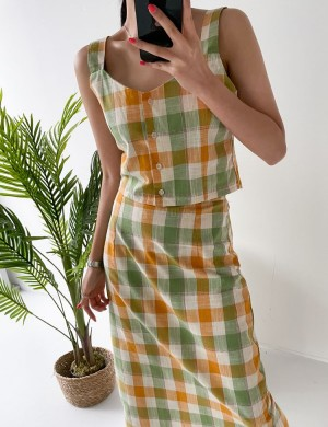 Multi Colored Checkered Button Up Sleeveless Top