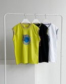 Contrast Ribbed Sleeveless Graphic T-shirt