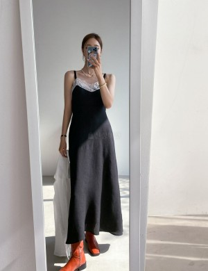 Slip Dress with Lace Detail
