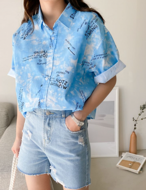 Floating on Clouds button down top