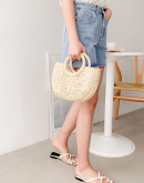 Ally Woven Wood Bag With Handle