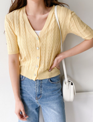 Carrie Short Sleeve Knit Cardigan