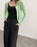 Angie Crop Knit Button down Top