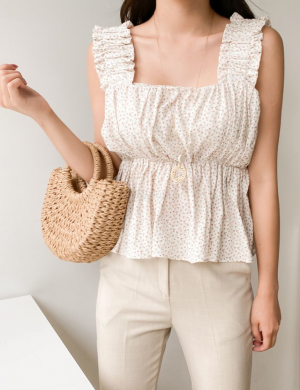 Claire Square Neck Gathered Sleeveless Top