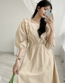Lovely Square neck Puff Sleeve Dress