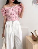 Off Shoulder Mesh Blouse With Lace