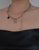 Bear & Smiley Pendant Layered Chain Necklace